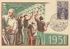 CARTE POSTALE GRAND FORMAT JOURNEE DU TIMBRE 1951 TOULON