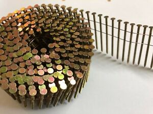15 Degree Flat Wound Galvanised Coil Nails for Nail Gun. 2.1 x 25mm - 50mm