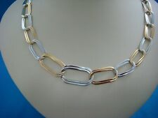 ITALIAN 18 K. GOLD 12.3 GRAMS LARGE 2 TONE LINKS LADIES NECKLACE 18 INCHES