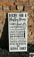 """Large Primitive Handmade Wooden Sign """"Recipe For a Happy Home"""" Rustic Kitchen"""