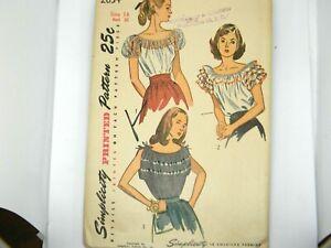 Vintage Simplicity Sewing Pattern Ruffled Boho Shirt Uncut Sz 14 Bust 32 2034