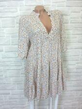 NEU Blogger Hängerchen Kleid Tunika Volant Blumen Print 36 38 40 42 Rosa K242