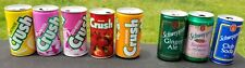 Lot of 8 Vintage Soda Cans (1980s) Crush, Schweppes. Top Opened, great shape