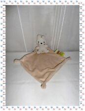 K - Doudou Peluche Lapin Blanc Mouchoir Ecru Etiquettes  Nicotoy