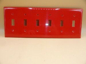 BRYANT RED TOGGLE SWITCH COVER 6 GANG WALL PLATES N2276 (LOT OF 1)