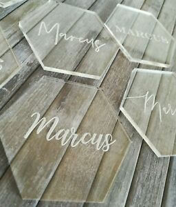 Hexagonal Acrylic Personalised Table Place Names Engraved Calligraphy Favours