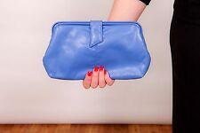 70s 80s vintage blue faux leather BHS clutch bag