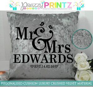 PERSONALISED CUSHION GREY CRUSHED VELVET GIFT WEDDING MR & MRs VALENTINES