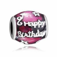 Oval Shape Silver Charm Birthday Bead Fine Gift Fit 925 Sterling Bracelet Chain