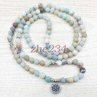 Fashion Women`s Matte Amazonite 108 Mala Beads Bracelet Best Gift beauty