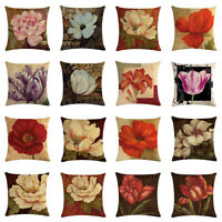 "18"" Natural flowers Throw Linen Pillow Case Sofa Home Office Decor Cushion Cover"