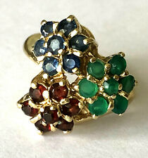 3 Flower Natural Sapphire Ruby Emerald 14K Yellow Gold Cluster Ring Size 5