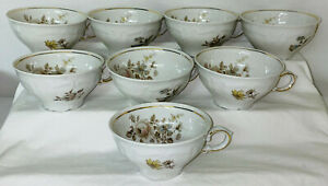 """8 Winterling *EMPRESS MARIA THERESIA* 2 1/4"""" CUPS W/GOLD TRIM*"""