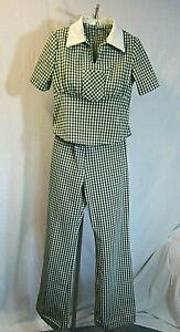 Vtg 70s Dk Green & White Check Polyester Pant Suit Elastic Waist Disco Size 3