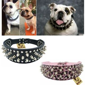 Spiked Studded Rivet PU Leather Dog Collar Pit Bull M L BLACK FOR LARGE BREEDS