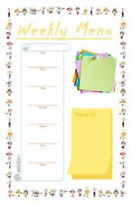 """Magnetic Weekly Menu Planner - 11""""x 17"""", With Shopping List, Include 4 Markers"""