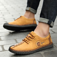 2019 Men's Fashion Leather Casual Soft Vintage Shoes Breathable Non-Slip Sole