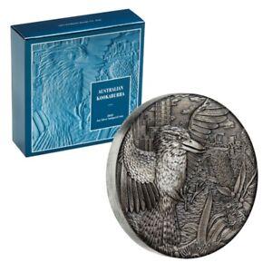 2018 Perth Mint $2 2oz Australian Kookaburra Silver Antiqued Coin D6-1871
