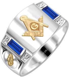 Custom Men's 925 Sterling Silver & 14k Gold Master Mason Solid Back Masonic Ring