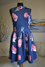 BNWT SUPERDRY NEW Premium Scuba Dress Summer Navy Floral Sz. Medium