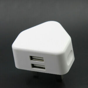 2.1A Fast Dual Twin 2 USB Port Charger UK Mains Wall Plug Adapter 3 Pin White