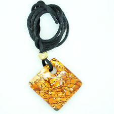 Murano Glass Pendant Necklace Orange Red Gold Square Venetian
