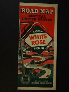 1940 WHITE ROSE GASOLINE TRAVEL MAP~CENTRAL UNITED STATES (NEW OLD STOCK)~