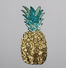 LARGE Iron on Gold Pineapple Applique Patch Kawaii Food Fruit Sequin Sequins