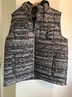 Ecko Unlimited Mens Puffer Vest Jacket Size 2XL Full Zip Gray Hoodie