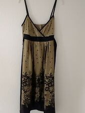 Ted Baker Fully Lined Silk Dress, Gold + Black, Floral/Spots, Thin Straps, Sz 1
