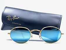 VINTAGE RAY BAN ROUND ARISTA GOLD OVAL BLUE LENSES ROUND 1980'S B&L SUNGLASSES