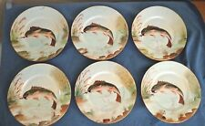 Silesia Salad Plates Fish Pattern 1900-1920 Hand Painted set of 6 Antique Plates