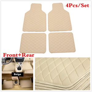 4PCS Car Front &Rear Floor Mats All Weather Universal Pad Carpet Protect Beige