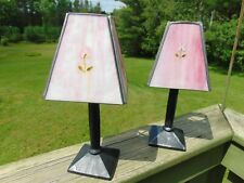 "Set 2 Stained Glass Tea Light Holders Lamps Pink Flower 11"" Table Top"