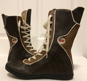 Miss Sixty Boots Brown and Beige High Top Mid Calf Lace up Size 8.5 US