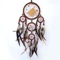 Traumfänger, Dreamcatcher, mit 5 Ringen und echten Federn 40 cm lang D= 12cm