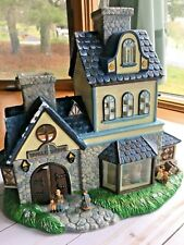 PartyLite Olde World Village Candle Shoppe Tealight House P7315 Preowned Blue