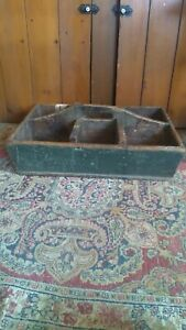 """Best Antique Early Handmade Large Wood Cubby Tote Carrier Orig Green Paint 21"""""""