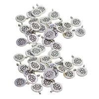 60Pcs Tibetan Silver Yoga Lotus Flower Charms Pendant for DIY Jewelry Making