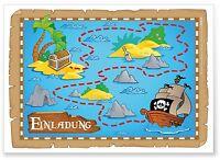 """12 Einladungskarten Kindergeburtstag """"Piratenparty"""" Pirat Schatzkarte Schiff Set"""