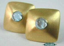 Amazing 14k Yellow Gold Blue Topaz Designer Earrings