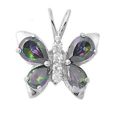 Rainbow Colored Topaz & Cubic Zirconia Butterfly Pendant