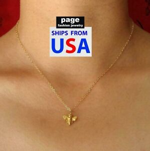 """Rose Gold Honey Bee Pendant With 18"""" Golden Chain Necklace Bumblebee Jewelry"""