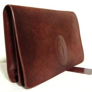 Auth Vintage must de Cartier Clutch bag purse Bordeaux Suede Leather Made Italy