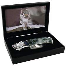 Maxam Lockback Knife with Decorative Wolf Inlay in Display Gift Box