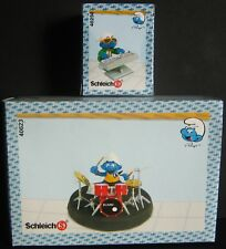 Schleich Smurfs Band Set of 2 different Figures Drummer 40623 New In Sealed Box