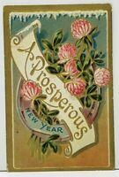 A Prosperous  New Year Embossed 1909 Bethel to Columbus Ohio Postcard I13