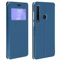Window flip case, flip wallet case with stand for Samsung Galaxy A9 2018 - Blue
