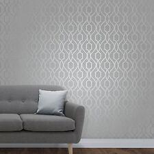 Sommet Géométrique Papier Peint Treillis Gris Pierre / Argent - Fine Decor