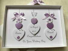 Handmade Personalised Boxed Lilac Wedding Day Card Engagement Anniversary